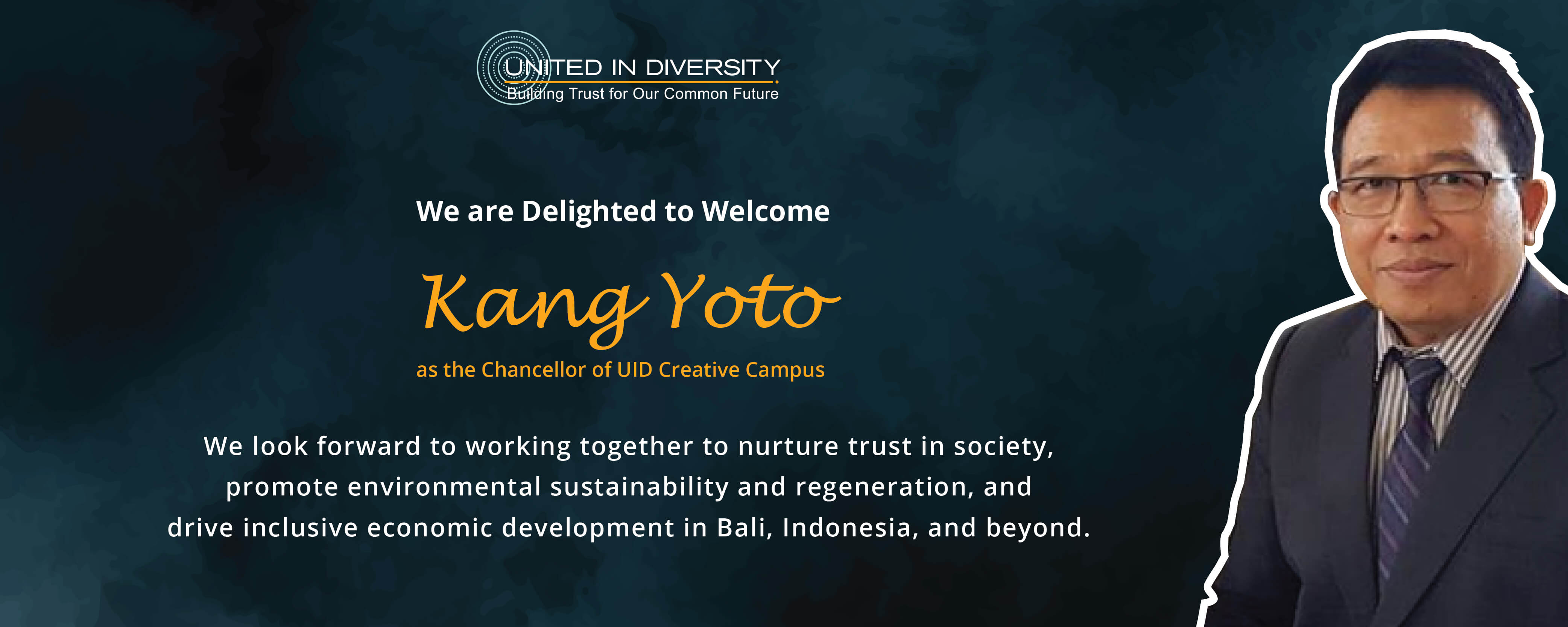 We are delighted to welcome  Kang Yoto   as the Chancellor of UID Creative Campus
